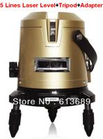 Laser Level+Tripod+Adapter FREE SHIPPING 5 lines laser level hilti horizon vertical measure laser free cross line laser level