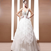 Creative tocsins trailing marriage gauze wedding dress high quality customize train wedding dress 90035