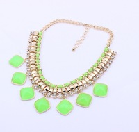 Min.order is $15 (mix order) Fashion Europe Water Drop Gem Necklace Collar Choker