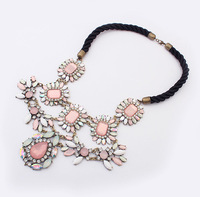 Min.order is $15 (mix order) Fashion sparkling gems drop tea big gem necklace long design clothes decoration flower necklace