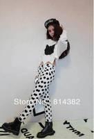 Free Shipping New 2014 Women Hoodies Sweatshirt O-Neck Clothing Wave Hem Cat Leather Printed Short Length Plus Size Solid White
