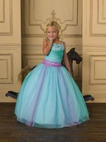 FL4268 Customer made Ball Gown Girls Pageant Dresses Green Spaghetti Straps Flower Girl Dress Turquoise