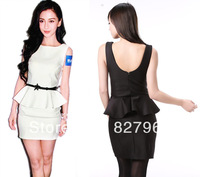 2013 New Women Vintage Sexy Club Summer -Autumn Winter Mini Sheath Dress with Sashes Black White Free Shipping #028