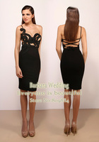 New Arrival 2013 Charming Sexy Sheath One-Shoulder Appliques Knee Length Celebrity Dresses Special Occasions Fashion Designer