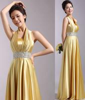 Evening Dresses 2015 Fashion Women Halter-neck Rhinestone Gold Satin Long Party dress Sexy Plus Size Dinner Gowm Prom Dresses