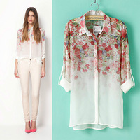 New Women Girl Lapel Collar Button Flowers Print  Chiffon Long Sleeve Shirt Blouse Tops