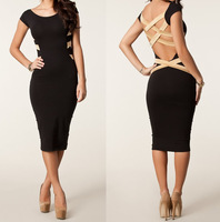 European and American Design 2013 New Fashion Women Sexy Plus Size Knee Length Criss Cross Back Black Bodycon Casual Dress 9050