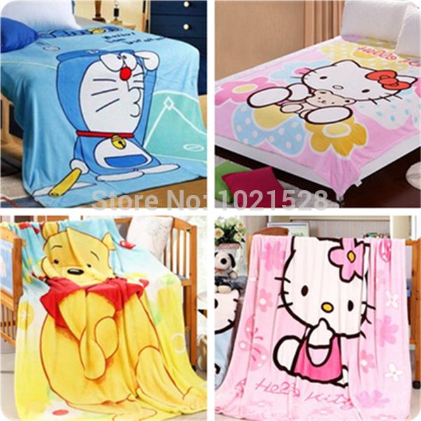 Cartone animato hello kitty/Winnie/design peluche doraemon bambini coperta di corallo del panno morbido