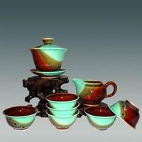 8pcs Chinese porcelain tea set, furnace transmutation teaset, exquisite workmanship ceramic tea wares, accidental colouring