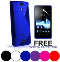 For Sony LT25i S Line Wave Gel Case Cover For Xperia V LT25i Case+ Screen Protector Free Shipping
