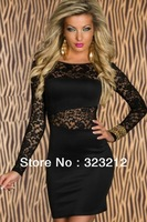 Free Shipping! Black color O-neck long sleeve lace dress, elegant dress,lace mini dress