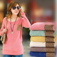 [Free]11Colors Winter Thick Pocket Loose Round Neck Long-sleeved Pullover Bottoming Sweater Ladies Sweater Coat  Free Shipping