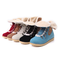 Large Size 41 42 43 Hot 2013 Fashion Fur Inside Female Ladies Flat Ankle Snow Boots For Women And Women's Lace Up Winter Shoes