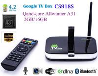 Quad Core Allwinner A31 2GB/16GB Android 4.4 TV Box CS918S  Built in 5.0MP Camera Mic Bluetooth RJ45 4k player xbmc Freeshipping