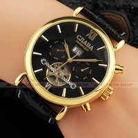 Luxury Men 5 Hand Gold Case Multifunction Tourbillon Calendar Date Leather Band   Automatic Mechanical Wrist Watch U364