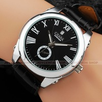 Elegant Men Black Roman Numerals Dial Date Dress Sport Automatic Mechanical Wrist Watch U359