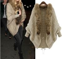 sweaters 2014 women fashion cardigan Faux fur collar tricotado crochet beige autumn winter outerwear clothing blusas de inverno