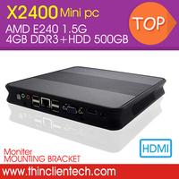mini pc windows 7 computer 4GB DDR3,500GB HDD,E240 1.5G AMD,Wireless Optional HTPC Preinstalled Windows XP OS nettop pc hdmi