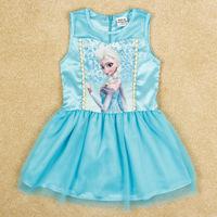 5222 brand NOVA 2014 new summer sleeveless FROZEN Elsa princess party blue lace tutu dresses for children girls