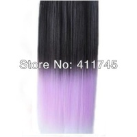 Top fashion New  Rainbow Women Hair Extensions Straight Synthetic Clip in on Double color gradient free shipping
