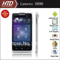 Original Lenovo S890 Multi-language Dual Sim 5.0 Inch Dual Core 1228MHz  MT6577 CPU  Android 4.0 Smart Phone + Free 8G SD Card