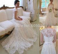 Elegant Scoop Neckline Cap Sleeve Floor Length A Line White Lace Wedding Dresses 2014 New Arrival Vestidos de novia