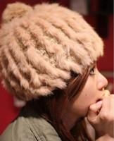 Free Shipping South Korean Star Models New Winter Warm Ear Rex Rabbit Fur Ball Wool Cap Knitted Hat