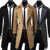 Free Shipping Fashion Double Breasted Long Windbreaker casual Slim Fit 3/4 Length Wool Coat Men Fashion Winter Coat