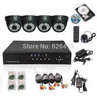 CCTV Home 4CH 960H DVR CCTV System Day Night 36 LEDS DOME Camera Surveillance Video Kit 500GB +Free Shipping