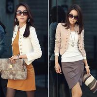 Korean Women Long Sleeve Slim Fitted Wear To Work Small Peplum Cropped Top Jacket Coat Bolero Blazer Cardigan Free Shipping 0601