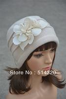 A123 Beige Felt Flower trimmed Womens Warmer Wool Beanie Cap Dress Crochet Hat