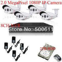 2TB HDD H.264 8CH NVR System Onvif  Sony Sensor 1080P Full HD Network IP Camera 2MP CCTV System Array IR Outdoor Camera