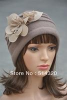 A123 Khaki Felt Flower trimmed Womens Winter Warmer real Wool Beanie Cap Dress Crochet Hat