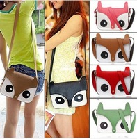 Free Shipping 2013 New Design Cartoon Women Ladies Retro Shoulder Bag Fashion Messenger Bags Cute School Tote Owl Fox PU Handbag