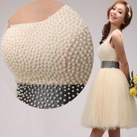 2015 new arrival Quality short beading bride formal dress paillette bling dress short evening dress