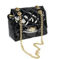 4Pcs/lot Cute Women's PU Leather Chain Handbag/ Shoulder Small Bag/ Crossbady Black, Purple, Gold, Silver free shipping 7527