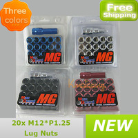 20pcs/set 12*1.25 Lug Nuts Auto Anti-theft Lock Aluminum Wheel three colors free shipping wholesales