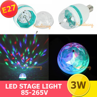 2x E27 Led Stage Lighting 3W Dj Disco led Party Lamp Full Colorful Crystal Ball Bulb Color Rotating Magic Light For free ship