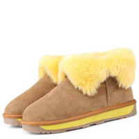 2013 new  wool fur  snow boots flat heel boots platform  genuine leather boots women warm shoes