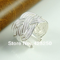 Min.order is $9 (mix order) 100% 925 Silver Hot Fashion Big Reticulocyte Prevent Friction Prevent Qxidation Ring R0310