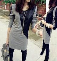 Patchwork Black Grey Long Sleeve PU Leather Cotton Autumn Casual Slim Mini Dress