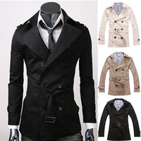 2014 Fashion Full Sleeve Turn-down Collar Slim Jackets Coat Mens Solid Color Casual Double Breasted Long Trench Outerwear W1284
