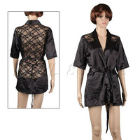 Fashion Sexy Satin Lace Lingerie Sleepwear Skirt Night Gown Nightwear Black DSHL