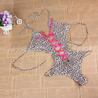 Women's Lady's Sexy Lingerie Leopard PU Leather Clubwear Stripper Teddies DSHL