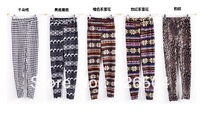 Leggings For Women 2013 Fashion Womens Snowflake Deer Colorful Pattern Retro Knitted Leggings Pants S/M/L Free Shipping