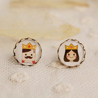 Wholesale 2013 Cute King and Queen Stud Earrings for Kids Personalized Christmas Jewelry 12mm 12pairs/lot rd27