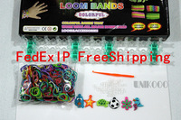 50SET/LOT RUBBER LOOM KIT,COMES WITH S-CLIPS AND 600 MIX COLORED RUBBER BANDS WITH CHARMS AND LOOM WHOLESALE LOOM SET,FEDXE
