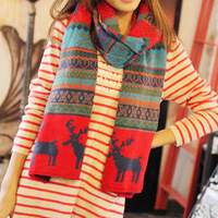 Free Shipping The Deer Scarf Double-Sided Winter Wool Lovers Long Big Scarf