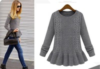 2014 New Europen Vintage Peplum Sweaters For Women Solid Color Knitted Pullovers Ruffles Sweater Plus Size SW-134