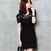 2014 New Fashion Casual Lace Black Women's Lady Straight Dress Stretch Short Sleeve for Women vestidos saia FZ0002